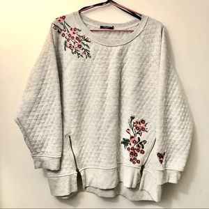 Embroidered Floral Quilted Crew Cozy Sweatshirt 2X